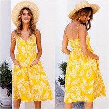 Floral Printed Spaghetti Strap Midi Backless Button Up Beach Casual Ruffle Swing Boho Dress Women Clothes Vestidos De Fiesta