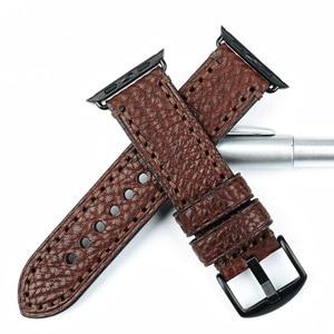 Image 3 - MAIKES Hohe Qualität Kuh Leder Für Apple Uhr Band 42mm 38mm Serie 4/3/2/1 Schwarz iWatch Gurt 44mm 40mm Armbänder Uhrenarmbänder