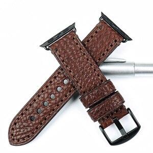 Image 3 - MAIKES wysokiej jakości skóra bydlęca dla Apple Watch Band 42mm 38mm seria 4/3/2/1 czarny pasek iWatch 44mm 40mm bransoletki od zegarków