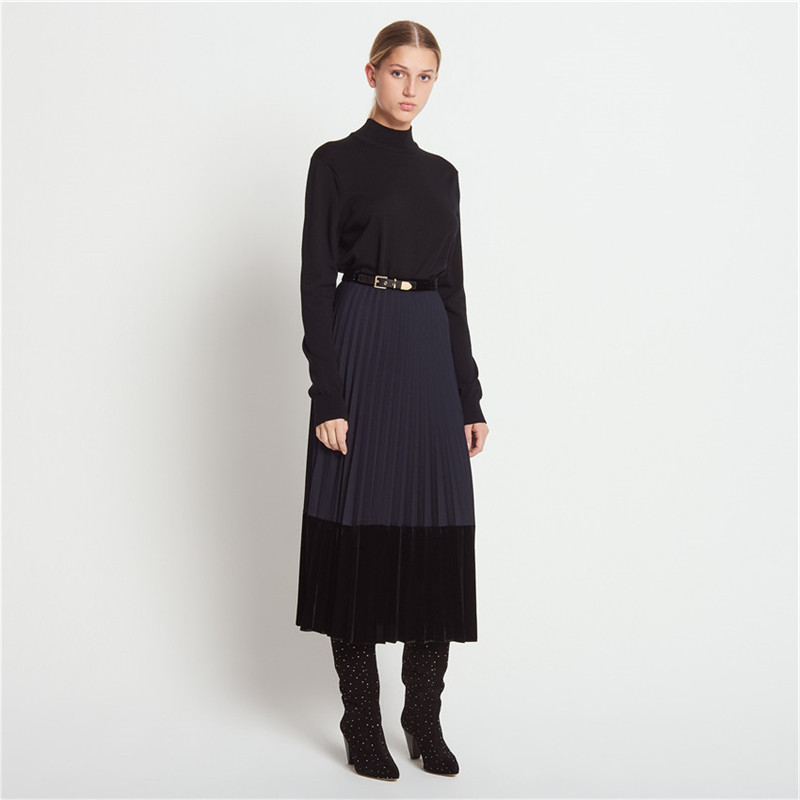 Women Skirt 2019 Autumn and Winter Ladies Wind Velvet Stitching Pleated Skirt