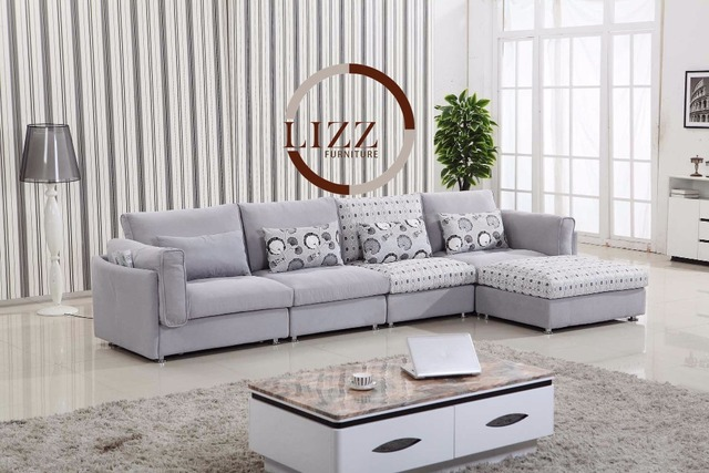 US $660.0 |Lizz Fabric Living Room Sofa AF 1302 # Living Room L shaped  Fabric Corner modern fabric sofa-in Living Room Sofas from Furniture on ...