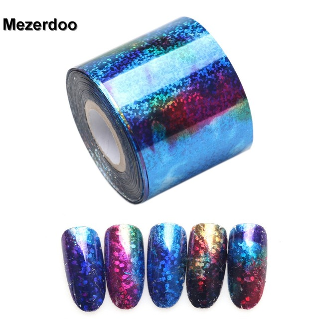 Royal Blue Starry Sky Holographic Nail Art Transfer Foil Nails ...