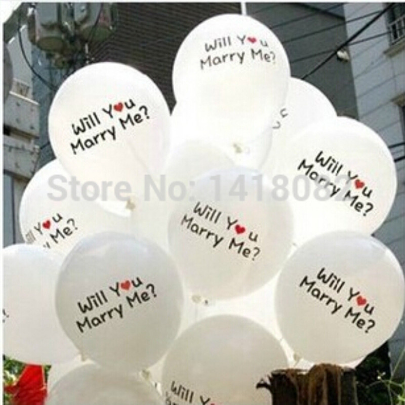 Printing Balloons 50pcs Lot Letters Will You Marry Me High Quality12 Inch Round Pink White Latex Wedding Decoration In Ballons Accessories From
