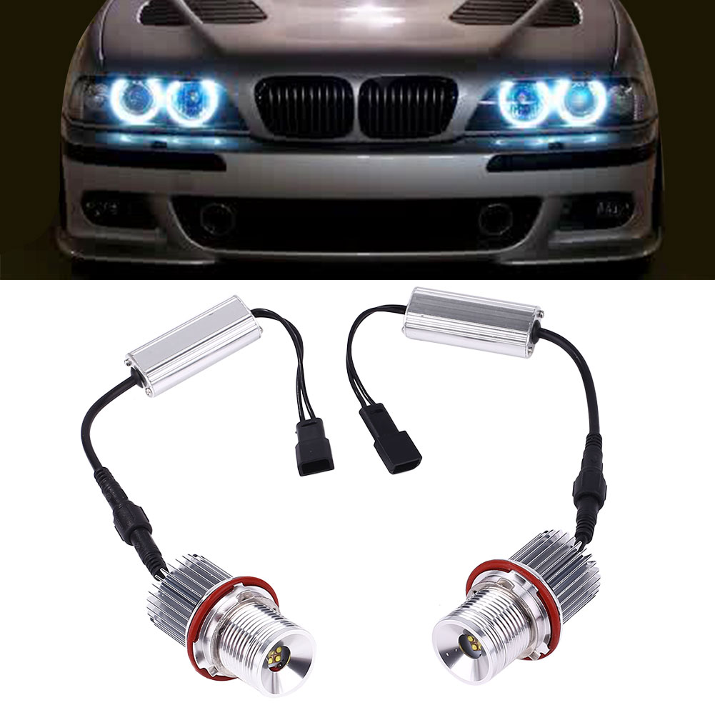 1 Pair DC 12V Car LED Angel Eye Marker Light For BMW E39 Accessories 40W 3500LM
