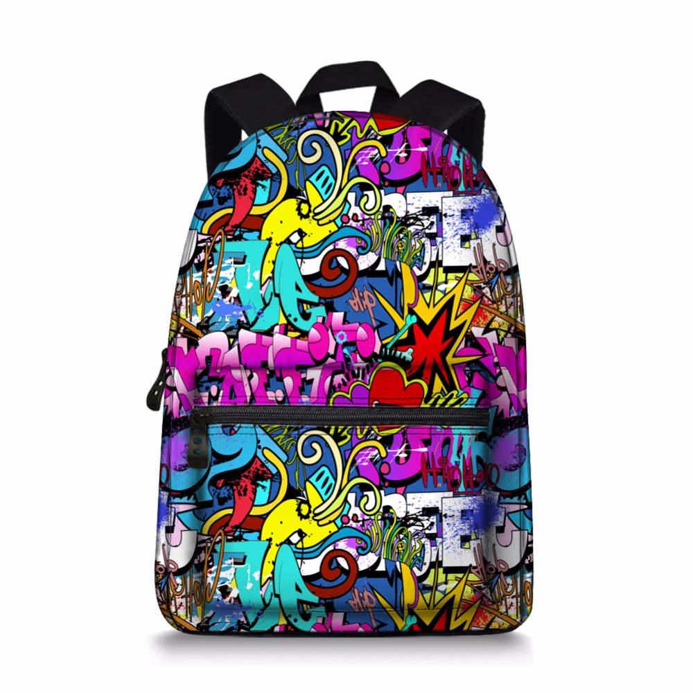 Jeremysport Cute Canvas School Backpack Graffiti Free Style Shoulder Daypack For Boy Girl Women