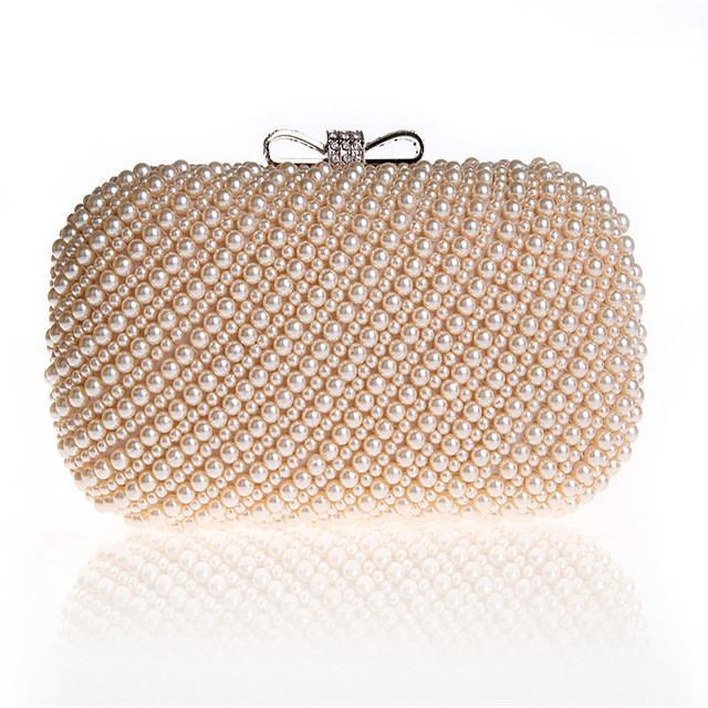 01d384e8fa218 New 2019 pearls evening bags black white beaded clutch bag wedding bridal  clutches party dinner purse chains handbag WY68
