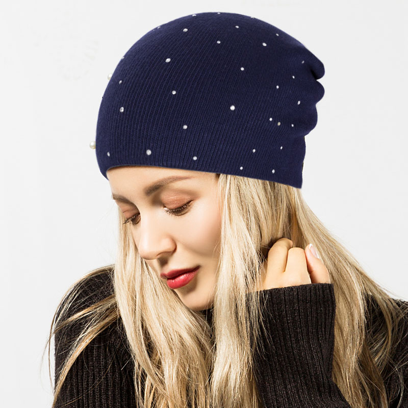 Fashion Pearl Winter Hat Women Solid Color Skullies Beanies Female Winter Beanies Caps Soft Warm Cotton Hats Ladies gorros femininos
