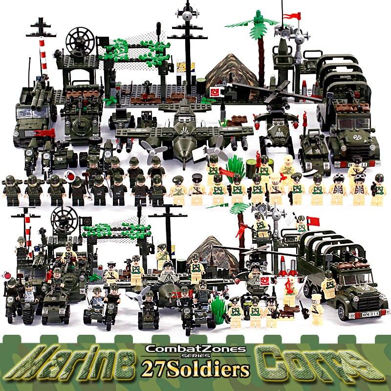 تنوير العسكرية التعليمية ألعاب مكعبات البناء للأطفال هدايا الجيش سيارات طائرات هليكوبتر سلاح متوافق مع Legoe-في حواجز من الألعاب والهوايات على  مجموعة 1