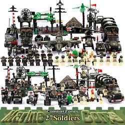 Iluminar bloques de construcción educativos militares juguetes para niños regalos coches del ejército aviones helicóptero arma Compatible con Legoe
