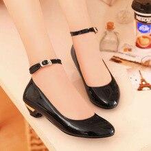 สุภาพสตรีลูกอมสีเวดจ์หนังPUปั๊มรอบนิ้วเท้าผู้หญิงW Edgesต่ำส้นรองเท้าสายรัดข้อเท้าผู้หญิงสำนักงานรองเท้าทำงานขนาด47