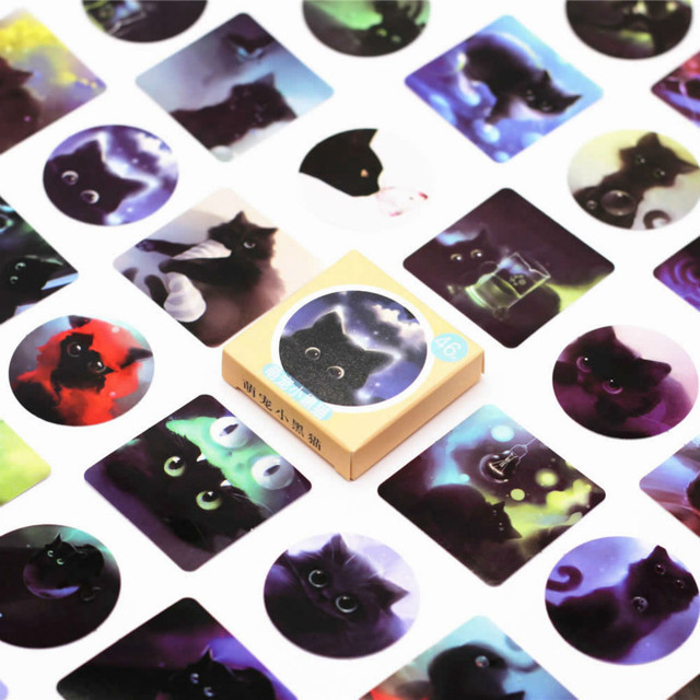 40pcs/Set Black Cat of the Night Memo Stickers Pack Posted It Kawaii Planner Scrapbooking Stationery Escolar School Supplies