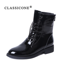 CLASSICONE 2019 Woman shoes women's ankle boots spring autumn genuine leather black flats brand fashion luxury style casual sexy chinese rhinestone foldable spring autumn crystal large size china genuine leather flats peach roll up famous brand shoes 10