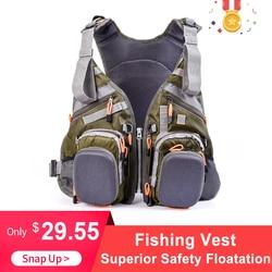 Fly Fishing Vest Per Gli Uomini Respirabili Della Maglia di Poliestere Per La Pesca Cinghie Regolabili Tasche Multiple di Sport Esterno