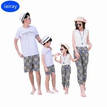 ФОТО iairay mother daughter outfits father son matching clothes boys summer tshirt men beach shorts women chiffon shirt flower pants
