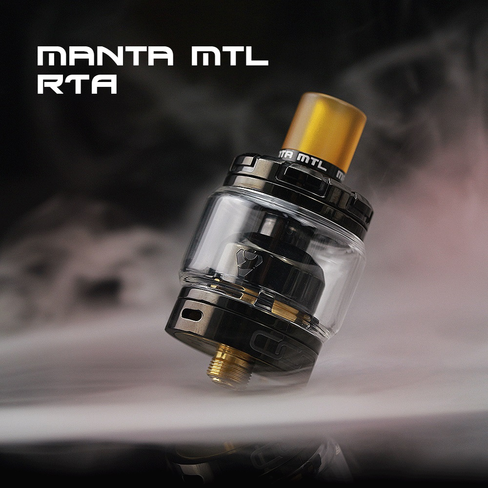 Original Advken Manta MTL RTA 24mm single coil Manta RTA 2/3ML capacity gold-plated deck for 510 e cig box mod vs Siren V2 RTA volcanee v2 rta single