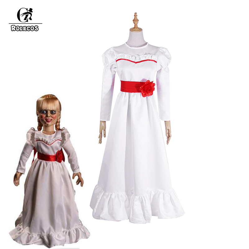 ROLECOS Movie Annabelle Cosplay Costume Doll Cosplay Dress Lolita Dress Halloween Costume for Women White Female Dress