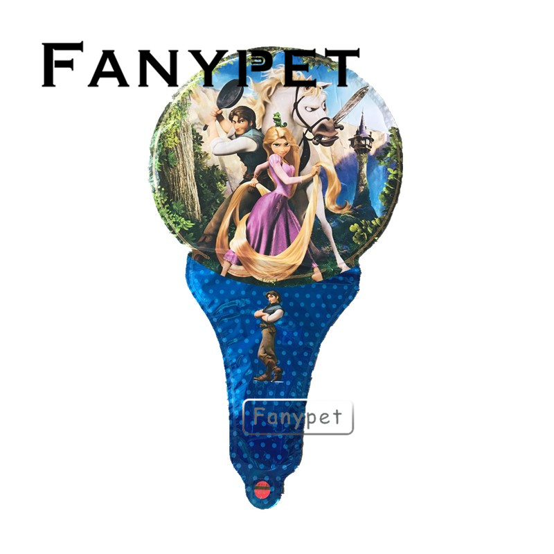 50pcs Rapunzel Balloon party supplies lovely girl princess birthday Party foil balloons hand hold stick inflatable toy gift