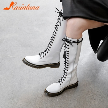 KARINLUNA New Arrivals Cow Leather Add Fur Warm Boots Woman Shoes Zipper Chunky Heels Mid Calf Boots Female Shoes Woman