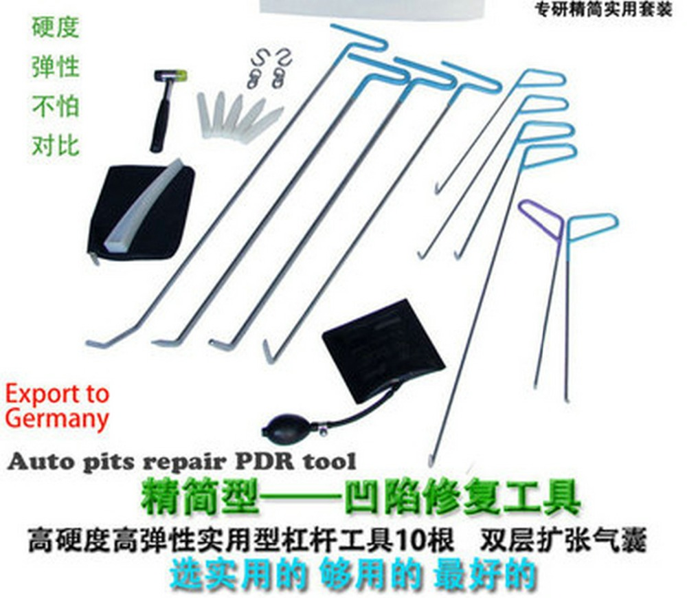 24PCS PDR Hook Tools Push Rod Black Car Crowbar Pump Wedge Paintless Dent Repair Tools PDR Kits Ding Hail Puller Set Ferramentas