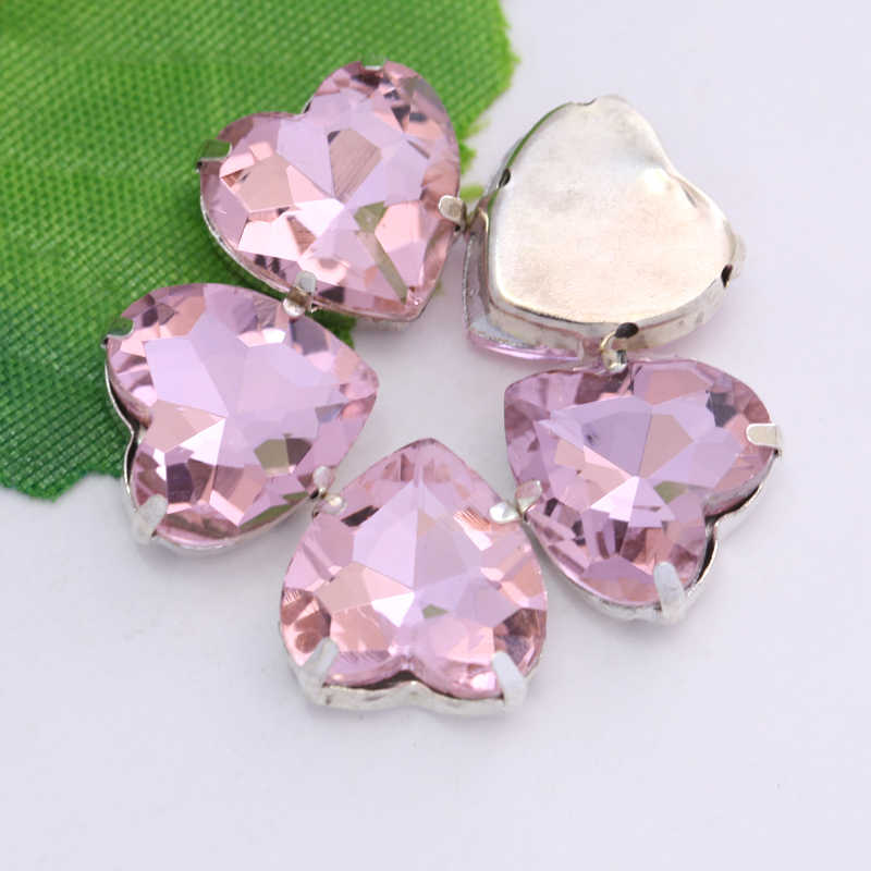 77a173db3d Light Pink Mixed Shapes Crystal Glass Sew On Rhinestones With Gold Claw  Flatback Sewing Rhinestones For Wedding Dress Y3515