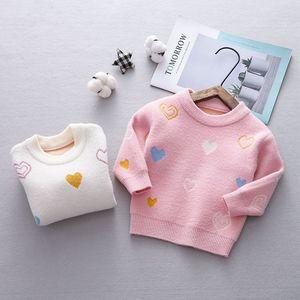 Image 3 - Осенний трикотажный свитер с длинным рукавом и принтом любящего сердца для маленьких девочек, бархатный пуловер, джемперы