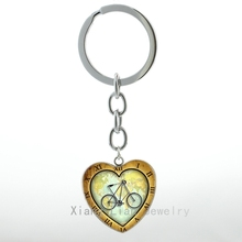 Around The World on a Bicycle Heart Pendant key chain steampunk Bike Travel keychain Love Tennis Soccer Football sports H03