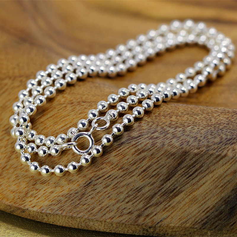 Paragraphs character silver 2018 New summer new fashion men and women with silver beads necklaceParagraphs character silver 2018 New summer new fashion men and women with silver beads necklace