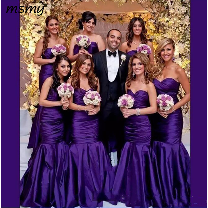 Simple Purple Long Mermaid   Bridesmaid     Dresses   2018 With Sweetheart Sleeveless Floor-Length Custom Made Formal