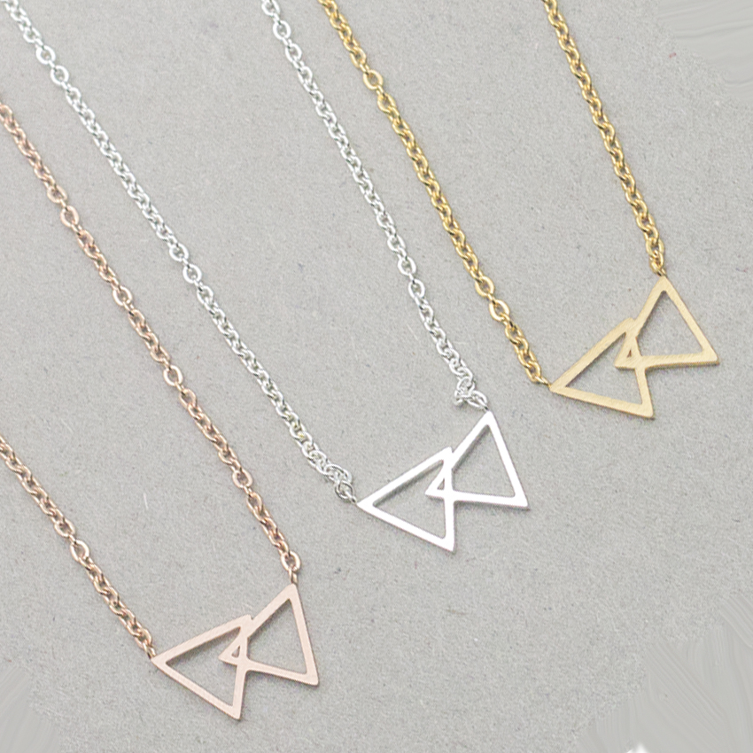 product GORGEOUS TALE 10Pcs/lot 2017 Simple Geometric Double Triangle Necklace Gold Chain Les Nereides Stainless Steel Women Jewelry