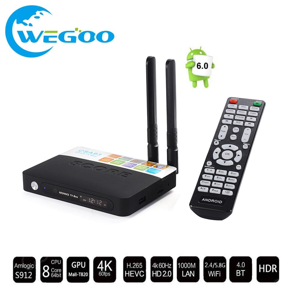 ФОТО CSA93 3GB RAM 32GB ROM Android 6.0 TV Box 2GB 16GB Amlogic S912 Octa Core Streaming Smart Media Player Wifi BT4.0 4K TV box TV