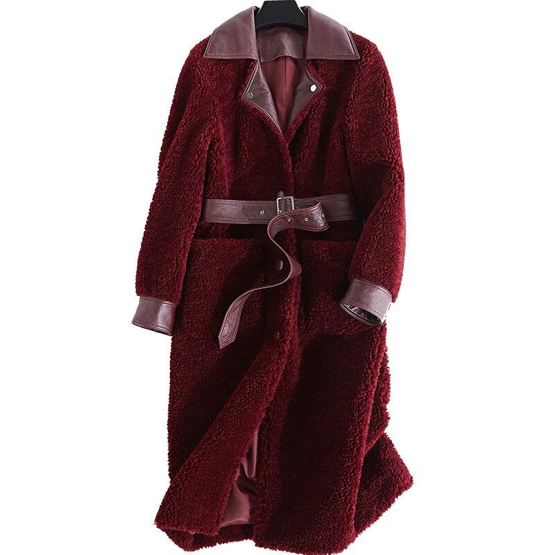 Manteau De Fourrure véritable Laine Veste Coréenne Long Manteaux Femmes Vêtements 2018 Hiver En Laine D'agneau Manteau Femmes Tonte des Moutons Fourrure Femmes Tops ZT364