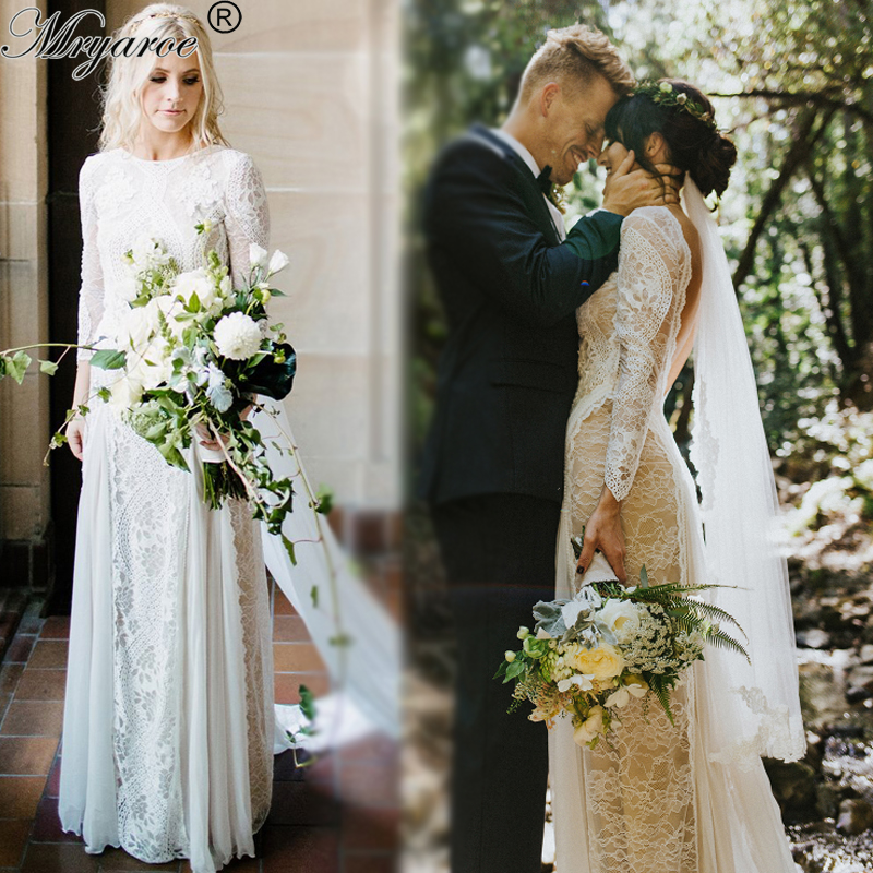 Mryarce Exquisite Lace Long Sleeve Backless Wedding Dress 2019 Boho Chic Wedding Dress Bridal Gowns robe