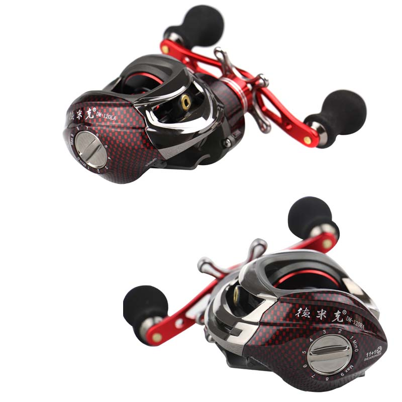 High Speed Sea Lure Fishing Reels 12BB 6.3:1 Left Right Hand Bait Casting Reel Water Drop Wheel Fishing Reel Pesca Wheel