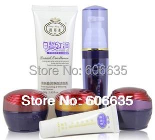 Nové balení LiangBangSu (3 + 2) profesionální bělící kosmetika (Den + Noc + Pearl + čisticí prostředek + Růžová esence)