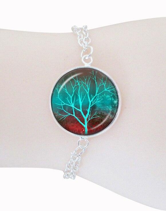 Glowing green tree bracelets bangles tree of life jewelry silver plated link chain bracelets glass pendant wisdom tree jewellery