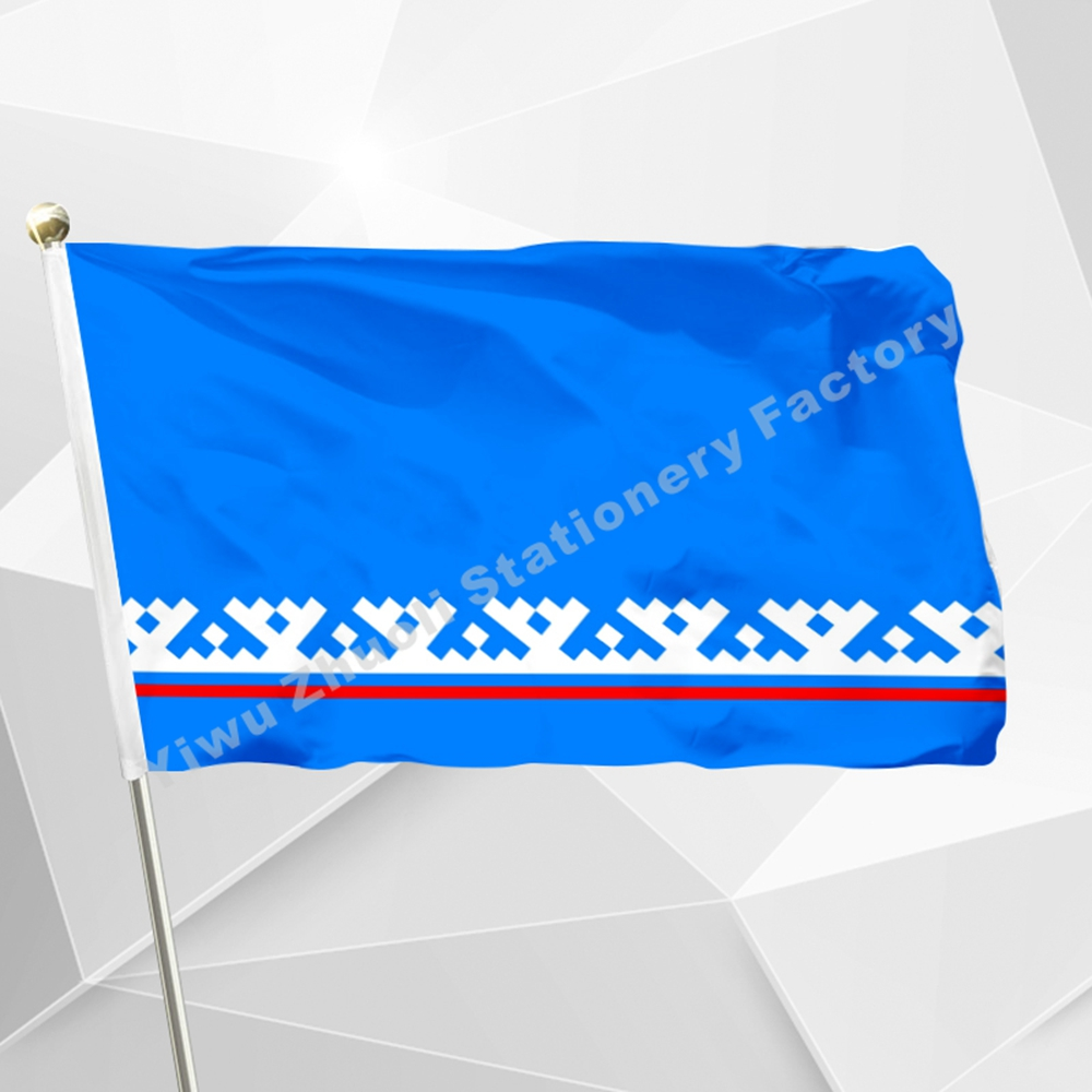 Russia Yamal-Nenets Autonomous District Flag 150X90cm (3x5FT) 120g 100D Polyester Double Stitched High Quality Free Shipping