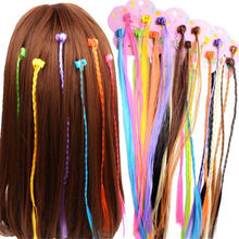 6Pcs/card Coloorful Wig Hair Clip Women Girls Pigtail Hair Claw Street Performance Hair Styling Headdress Hair Accessories claw hair clip 6pcs
