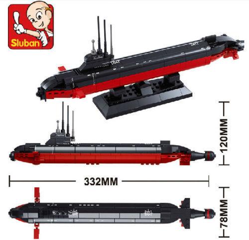 Candice guo jogo do presente de aniversário do miúdo bloco de construção de brinquedos blocos de construção de plástico Submarino Militar dunker modelo presente de natal 1 pc