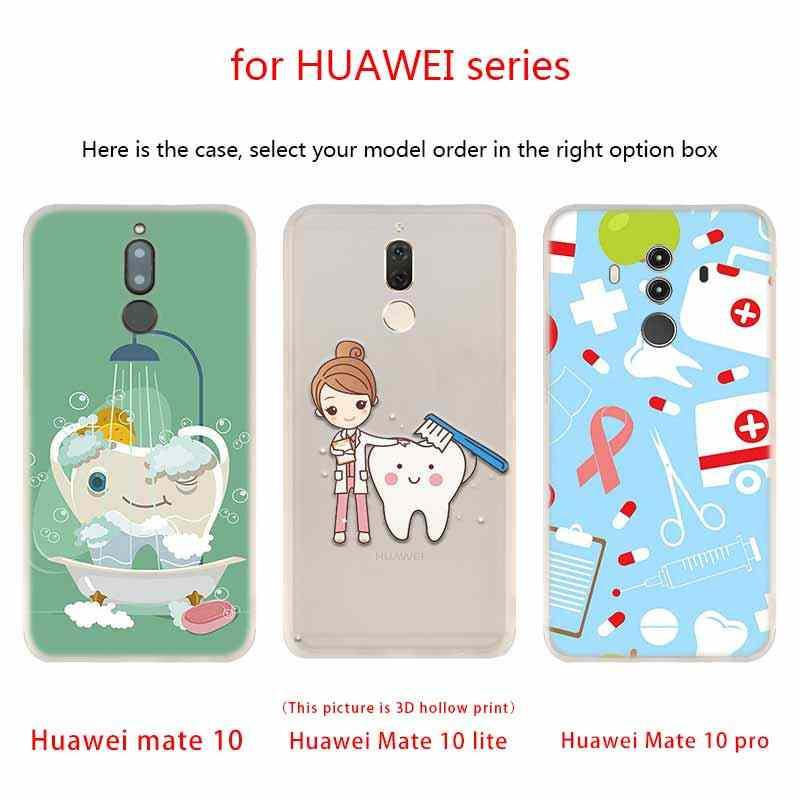 סיליקון מקרה עבור Huawei Mate 10 לייט 20 לייט פרו Y5 2017 Y9 2018 2019 נובה 3 4 Y7 שיניים שתל רופא שיניים שיניים שיניים דפוס
