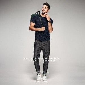 Image 2 - KUEGOU 2020 קיץ 100% כותנה פס כחול חולצה גברים חולצת טי מותג חולצה קצר שרוול טי חולצה עבור זכר בגדים חולצות 8123