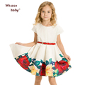 European Style Girl Dress with Belt 2016 Brand Floral Print Dress Kids Party Princess Dress Summer Children Clothing Whosebaby