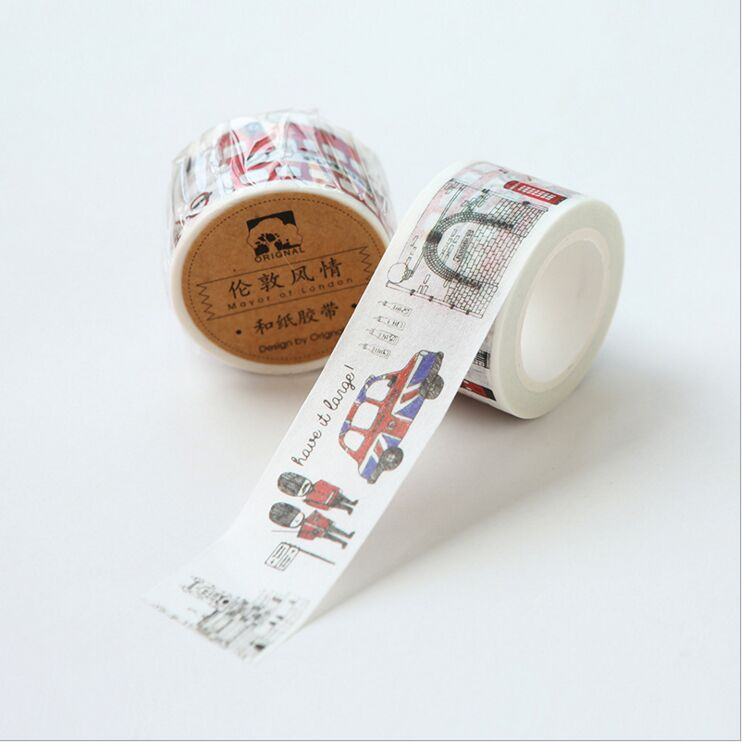 25mm wide Vintage Travelling Style London charming scenery decoration scotch washi tape DIY planner scrapbooking masking tape coloring europe charming london