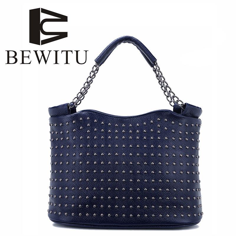 BEWITU 2018 New Leather Handbag Europe and The United States First Layer of Leather Rivet Bucket Shoulder Portable Messenger Bag aetoo new europe and the united states retro leather handbag shoulder bag head cowhide female messenger bag ipad package