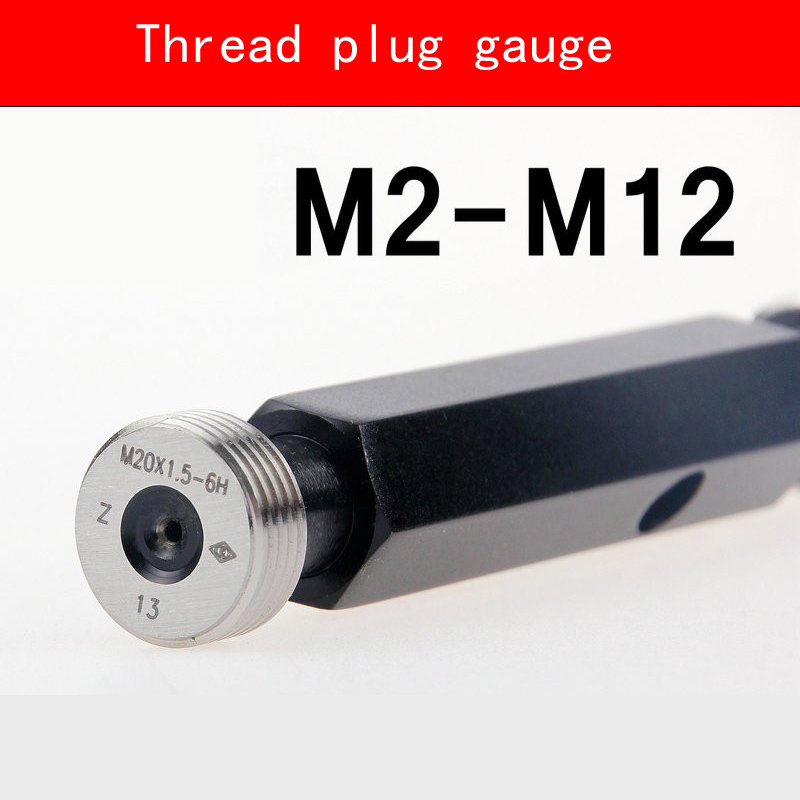 Thread Plug Gauge GO/NO GO Gage Metric Gauge 6H Precision Internal Screw Gage Fine Pitch Thread Test Tool Links HMCT Group 20pcs m3 m12 screw thread metric plugs taps tap wrench die wrench set