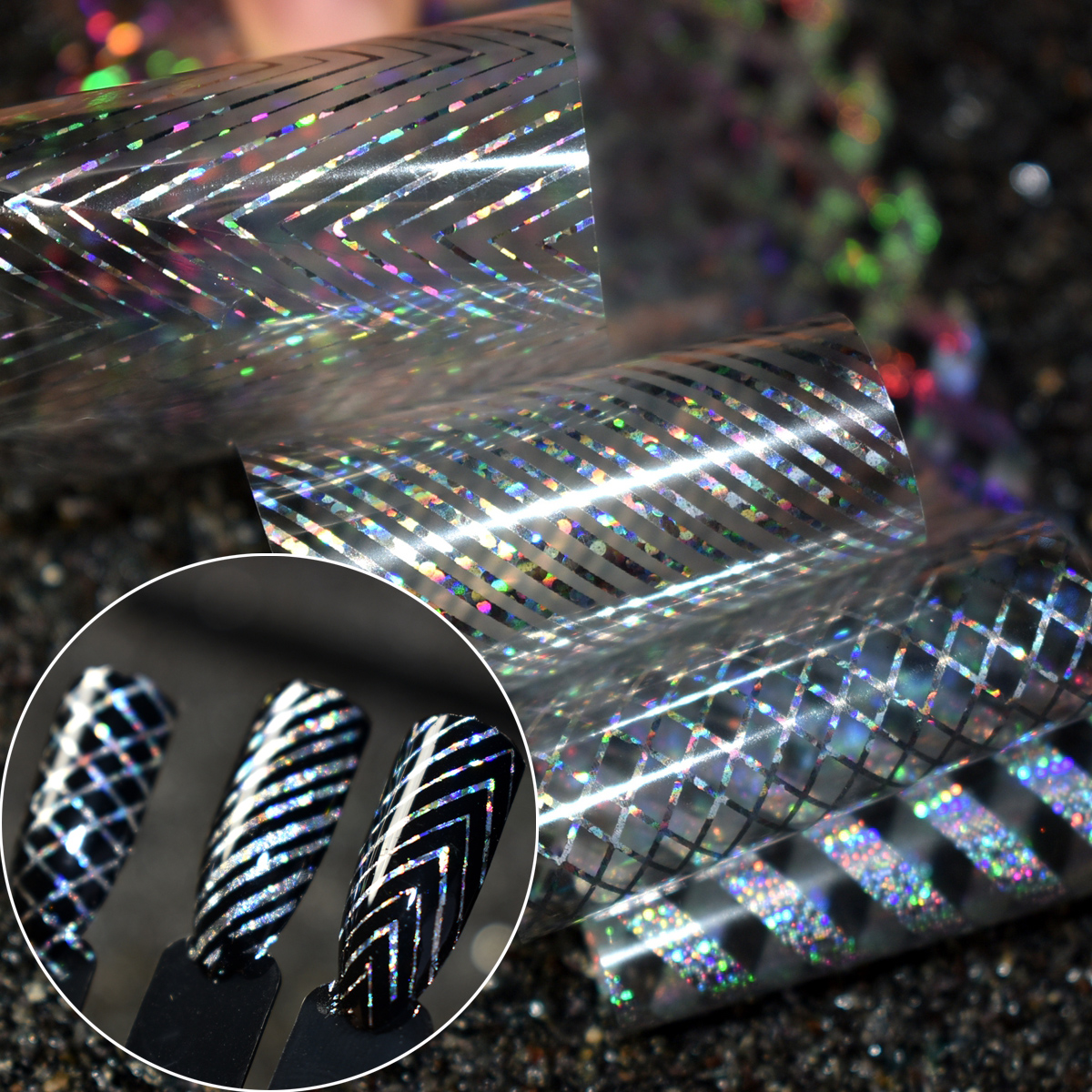 100cm Holographic Nail Foils Holo Tooth Pattern Laser Striped Art Transfer Foil Sticker Fish