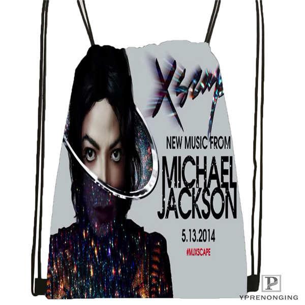 Custom Michael-jackson Drawstring Backpack Bag Cute Daypack Kids Satchel (Black Back) 31x40cm#180612-02-20