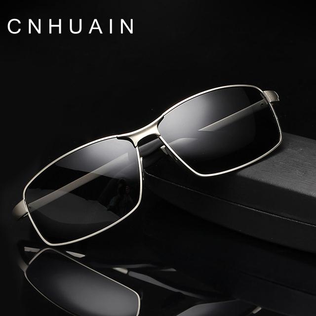 CNHUAIN Mens Óculos De Sol Da Marca Designer óculos Polarizados Condução Óculos De Sol Para Homens lente Azul Armação de Metal Óculos De Sol Dos Homens Revestimento Interno