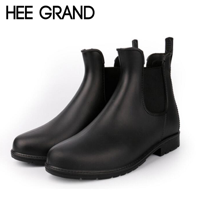 HEE GRAND Rain Boots Platform Women Ankle Boots Casual Rubber Shoes Woman Leopard Slip On Flats Women Water Shoes XWX6741 ...
