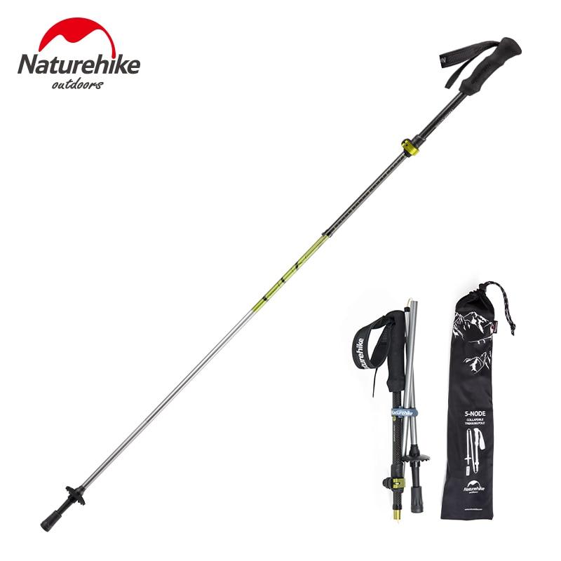 Naturehike 2Pcs Lot Nordic Walking Poles Ultralight Outdoor Carbon Trekking Walking Stick Folding Cane Camping Hiking