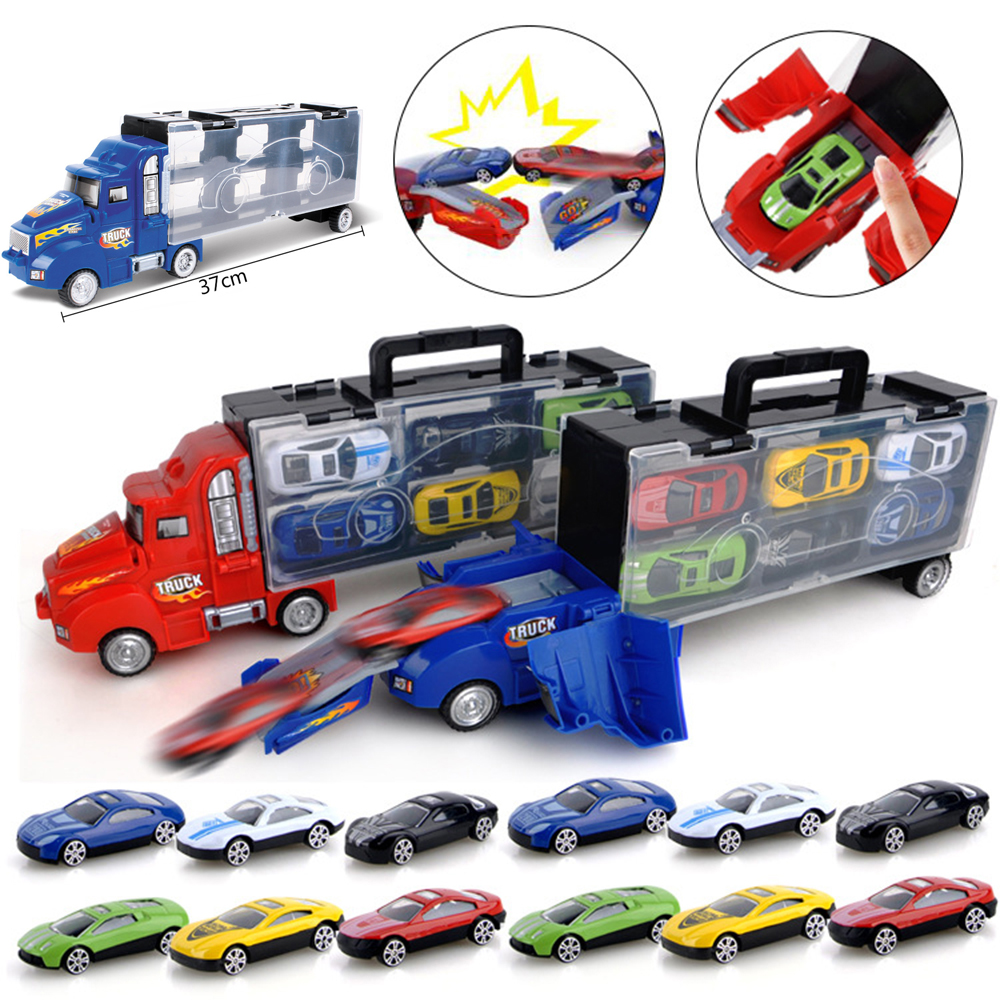 US $15 38 25% OFF|Finger Rock Ejection Storage Container Truck With Diecast  Pull Back Alloy Car Toys Mini Truck Model Car Educational Toy For Kids-in